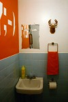 We decided to make this the humorous bathroom with bold color and quirky elements.