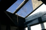 This skylight opens up so you can go outside.