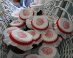 "Strawberry jam favors were stamped and monogrammed and a ""D"" and ""J"".  So sweet."
