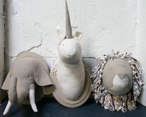 Faux elephant, unicorn and lion taxidermy in Italian linen!