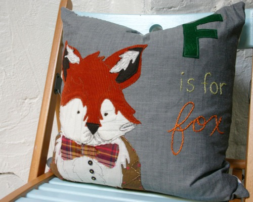 This dapper fox pillow has nothing to do with making stuffed animals...but isn't it cute?!   I made it for my glider!