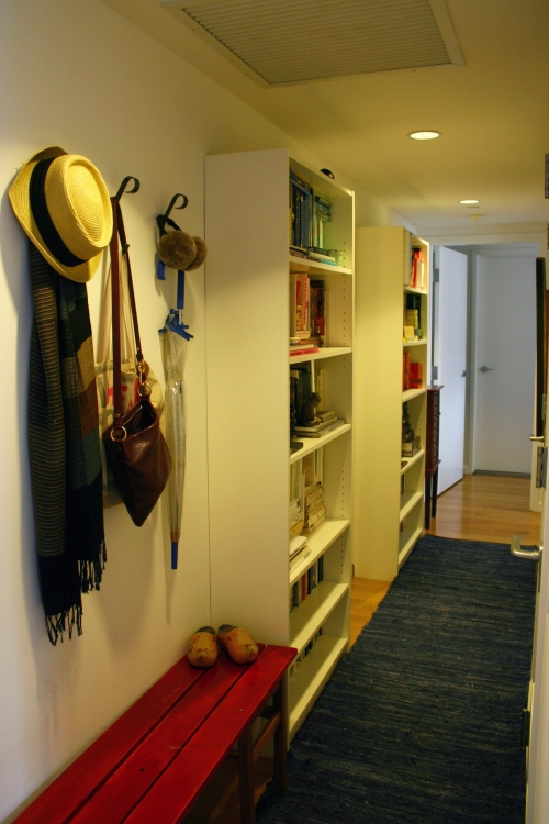 We added Billy bookshelves to the hallway for more storage.