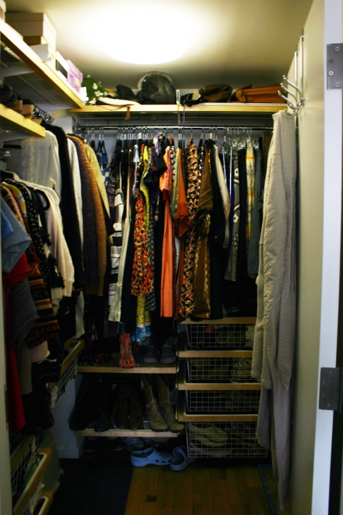 My closet...1/3 the size of my old closet...