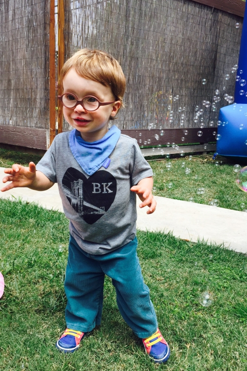 He's 2!  We also borrowed a friend's bubble machine because who doesn't love bubbles?!