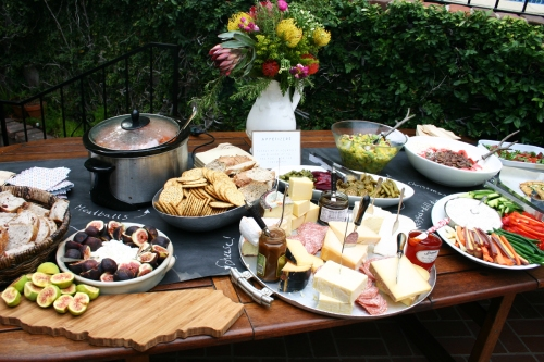 The next stop for guests was the appetizer table filled with elegant yet rustic self-serve dishes.