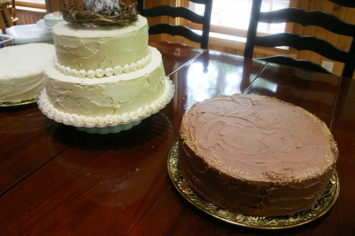 The three cakes finished and ready to head outside. From left to right: Carrot cake with cream cheese frosting, yellow cake with salted caramel buttercream and yellow cake with chocolate buttercream.
