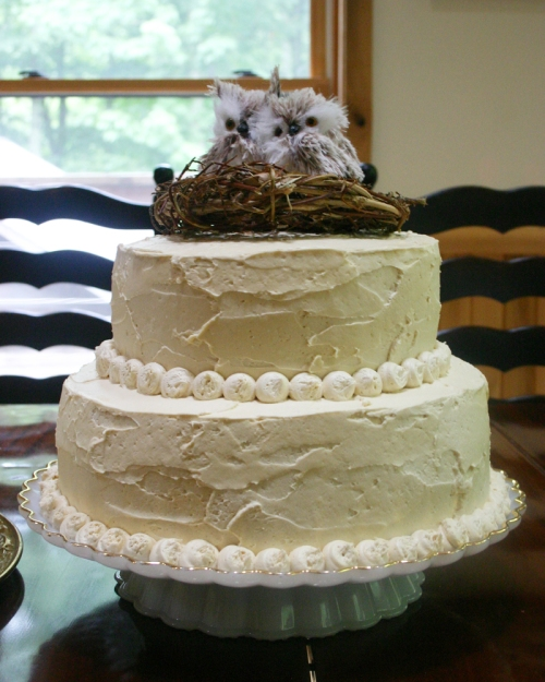 The largest cake was a yellow cake with salted caramel buttercream. It had two tiers and an adorable owl topper.