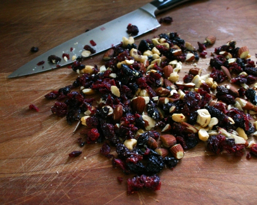 Roughly chop up your cup of nuts and fruit.  I used a mix of cashews, almonds, dried cranberries and bing cherries.