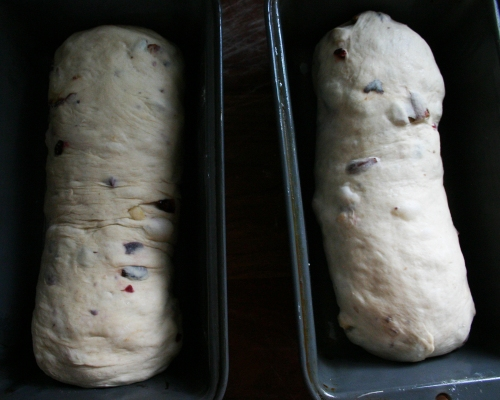 Tuck the ends under and place seam side down into a greased loaf pan.  Repeat with the other half of the dough.