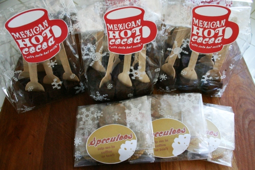 We packed ours up in cello bags with homemade sticky labels and shipped them with some Speculoos cookies!
