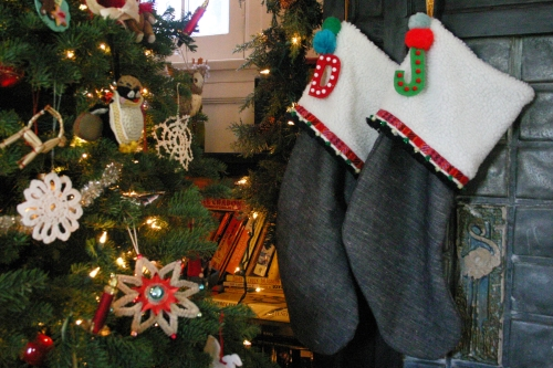 I added felt letters to all the stockings so my son will know which one is for him.