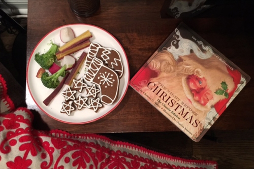 Cookies for Santa and raw veggies for the reindeer.
