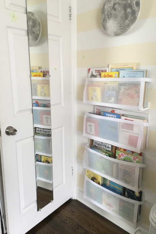 After: These are the single width shelves with mesh attached and books in place. No more clutter!