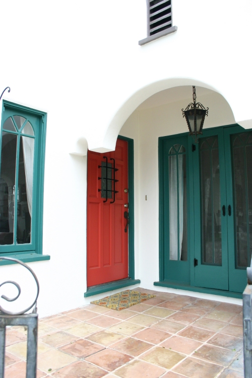 Functional French doors with new hardware and a cheerful tomato red front door!